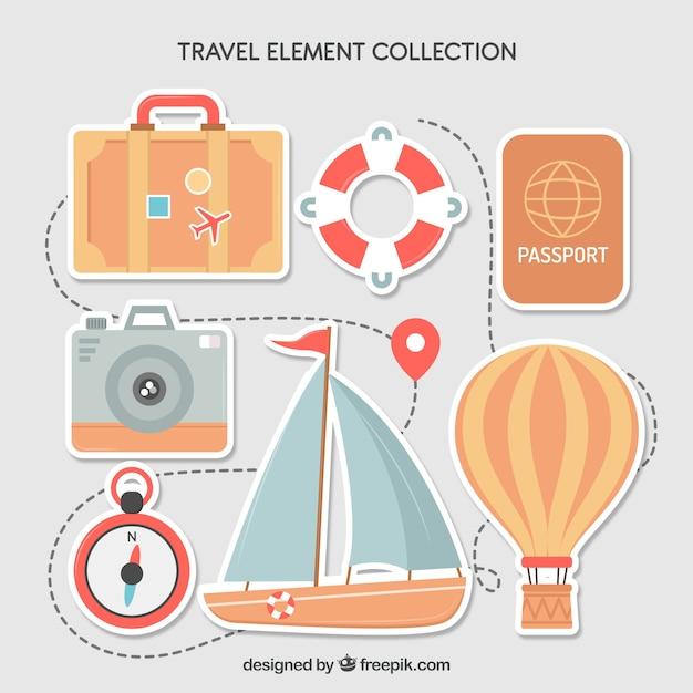 Kolekcja Elementów Podróży O Płaskiej Konstrukcji Darmowych Wektorów