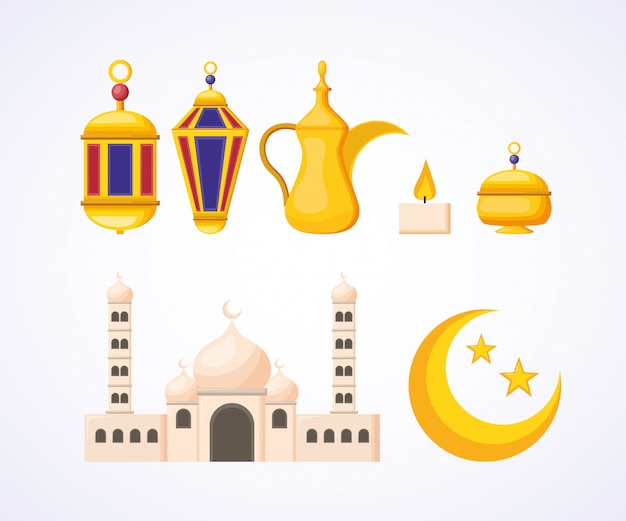 Kolekcja Elementów Ramadan Darmowych Wektorów