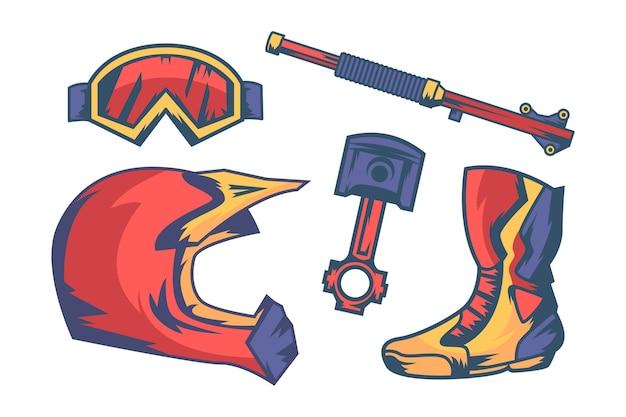 Kolekcja Elementów Retro Motocross Darmowych Wektorów
