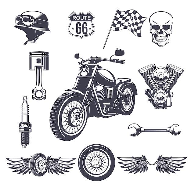 Kolekcja Elementów Rocznika Motocykla Darmowych Wektorów