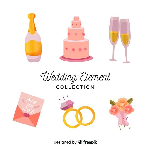 Kolekcja elementów ślubnych Darmowych Wektorów
