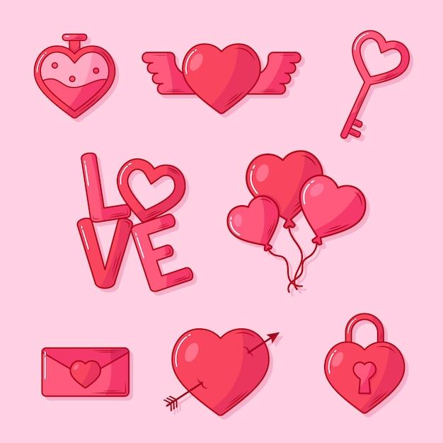Kolekcja Elementów Walentynek W Płaskiej Konstrukcji Darmowych Wektorów
