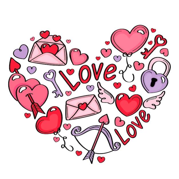 Kolekcja Elementów Walentynek Darmowych Wektorów