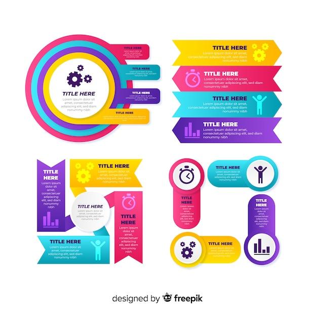 Kolekcja elementu gradientu infographic Darmowych Wektorów