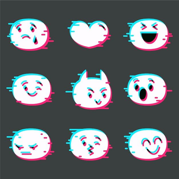 Kolekcja Emoji Glitch Darmowych Wektorów