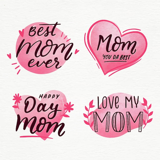 Kolekcja Etykiet Akwarela Dzień Matki Darmowych Wektorów