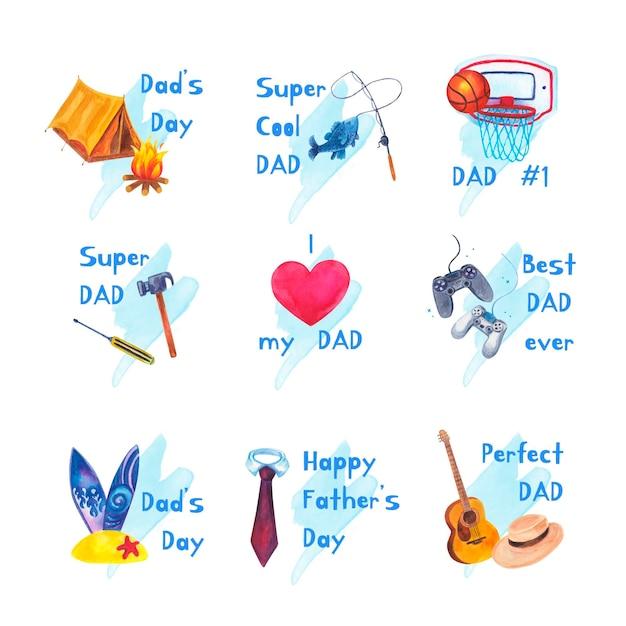 Kolekcja Etykiet Akwarela Dzień Ojca Darmowych Wektorów