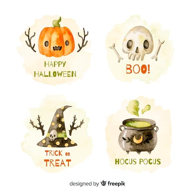 Kolekcja etykiet akwarela halloween Darmowych Wektorów
