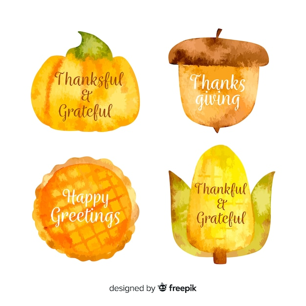 Kolekcja etykiet akwarela święto dziękczynienia Darmowych Wektorów