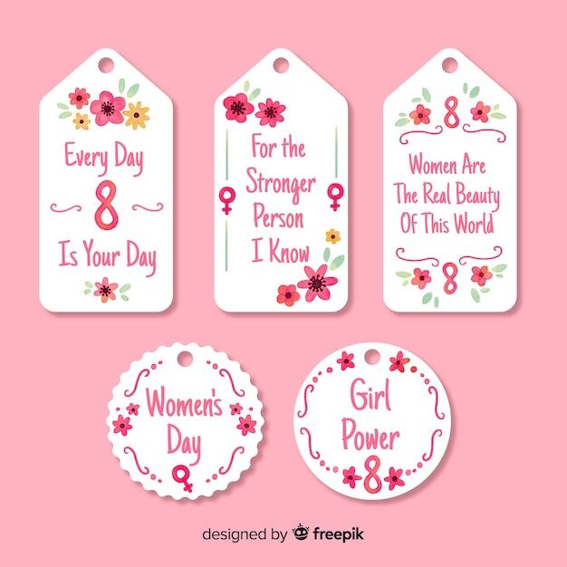 Kolekcja etykiet dzień womans Darmowych Wektorów