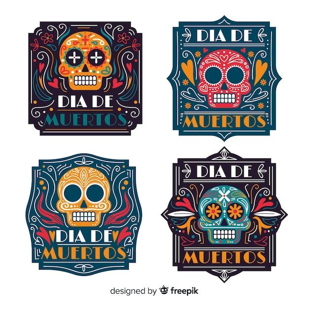 Kolekcja etykiet flat día de muertos Darmowych Wektorów