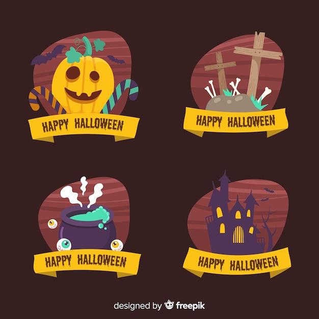 Kolekcja etykiet halloween na czarnym tle Darmowych Wektorów