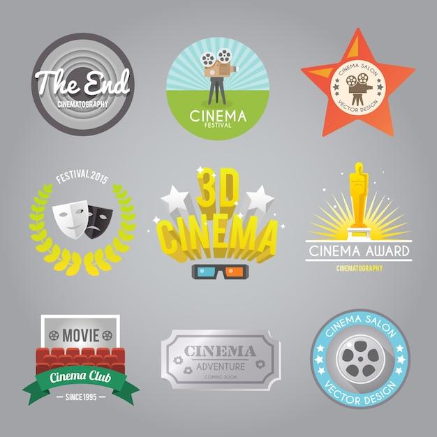 Kolekcja etykiet kinowych Darmowych Wektorów