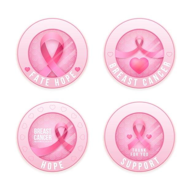 Kolekcja Etykiet Miesiąca świadomości Raka Piersi Darmowych Wektorów