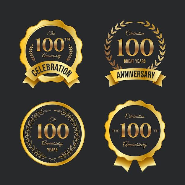 Kolekcja Etykiet Na 100 Rocznicę Darmowych Wektorów
