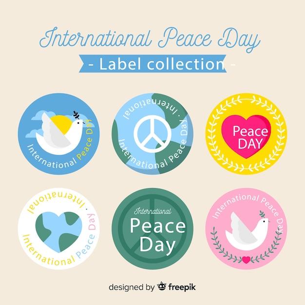 Kolekcja Etykiet Na Dzień Pokoju Darmowych Wektorów