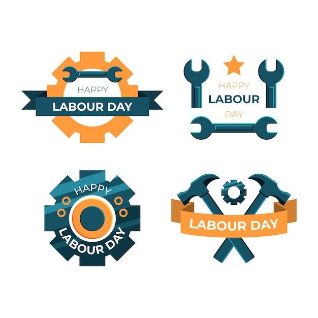 Kolekcja Etykiet Na Dzień Pracy Płaska Konstrukcja Darmowych Wektorów