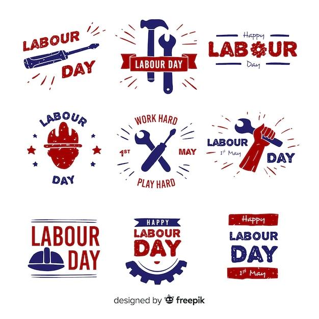 Kolekcja etykiet na dzień pracy Darmowych Wektorów