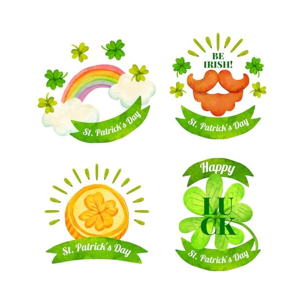 Kolekcja Etykiet Na Dzień świętego Patryka W Akwareli Darmowych Wektorów