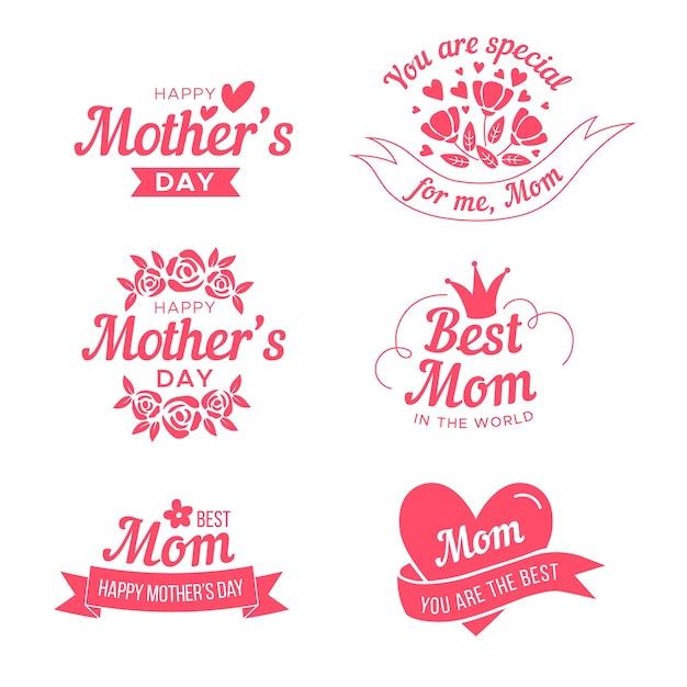 Kolekcja Etykiet Na Płaski Dzień Matki Darmowych Wektorów