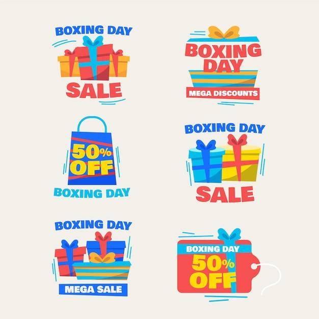 Kolekcja Etykiet Na Sprzedaż W Drugi Dzień świąt Bożego Narodzenia Darmowych Wektorów