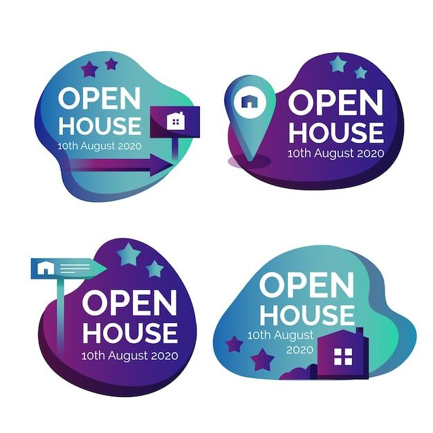 Kolekcja Etykiet Open House Darmowych Wektorów
