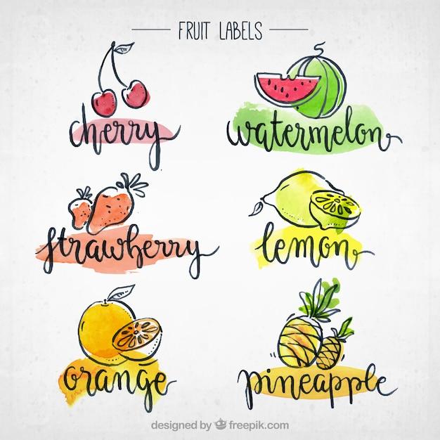 Kolekcja etykiet owocowych Darmowych Wektorów