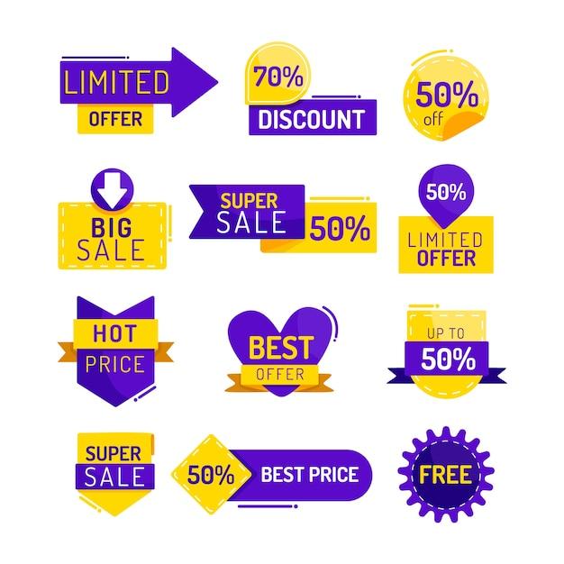 Kolekcja Etykiet Promocji Sprzedaży Darmowych Wektorów