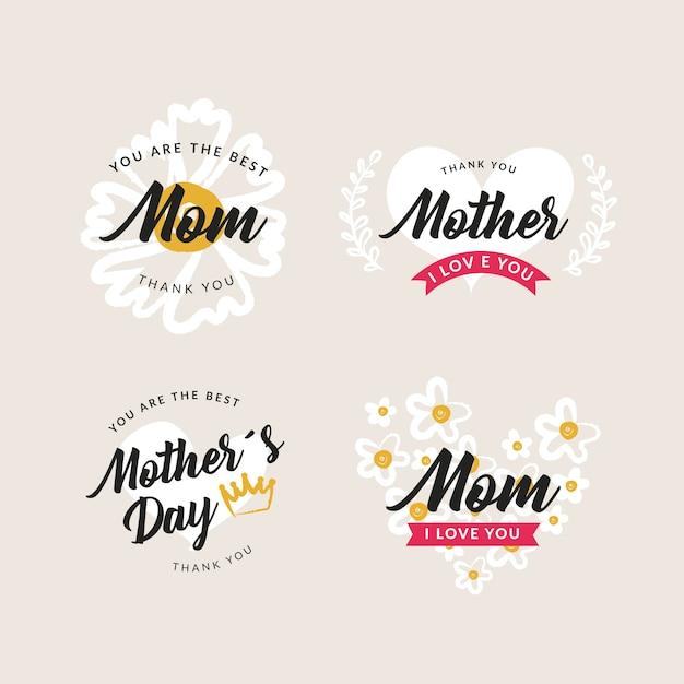 Kolekcja Etykiet Ręcznie Rysowane Dzień Matki Darmowych Wektorów