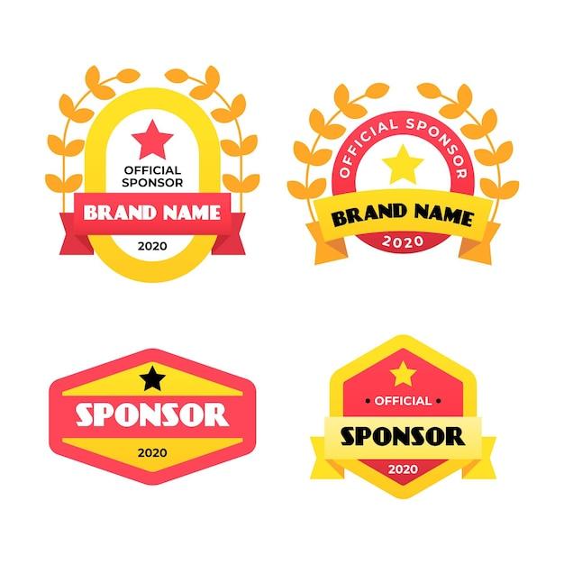Kolekcja Etykiet Sponsora O Płaskiej Konstrukcji Darmowych Wektorów