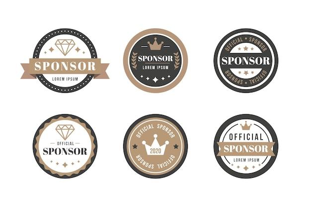 Kolekcja Etykiet Sponsora W Stylu Vintage Premium Wektorów