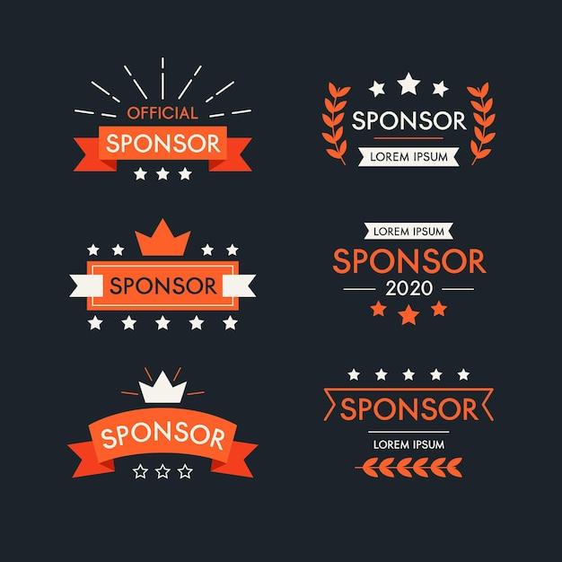Kolekcja Etykiet Sponsora Wstążki Premium Wektorów