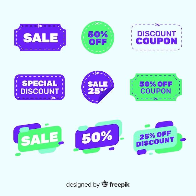 Kolekcja Etykiet Sprzedaż Kupon Promocyjny Darmowych Wektorów