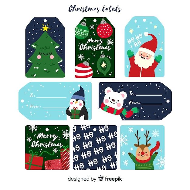 Kolekcja etykiet świątecznych w płaskiej konstrukcji z cute rysunków Darmowych Wektorów