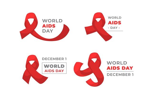 Kolekcja Etykiet światowego Dnia Pomocy Z Czerwonymi Wstążkami Darmowych Wektorów
