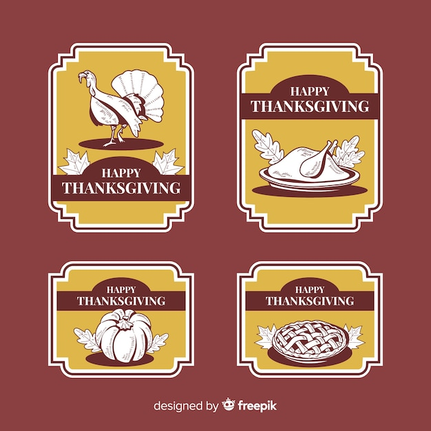 Kolekcja etykiet vintage święto dziękczynienia Darmowych Wektorów
