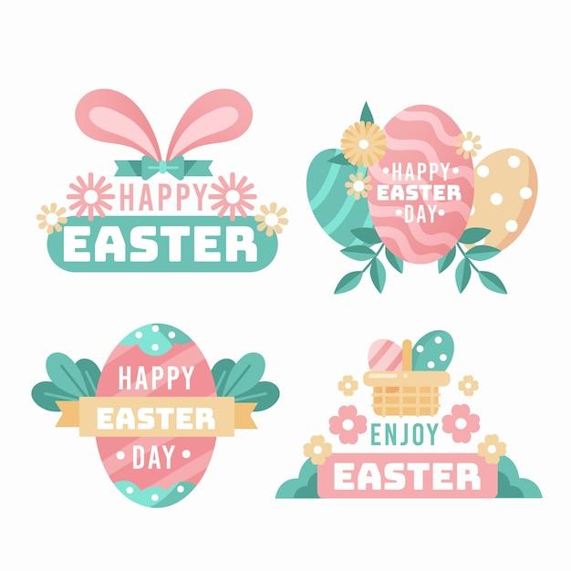 Kolekcja Etykiet Wielkanocny Dzień Darmowych Wektorów