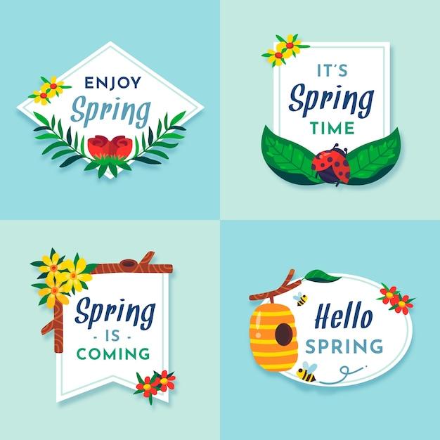Kolekcja Etykiet Wiosennych Płaska Konstrukcja Darmowych Wektorów