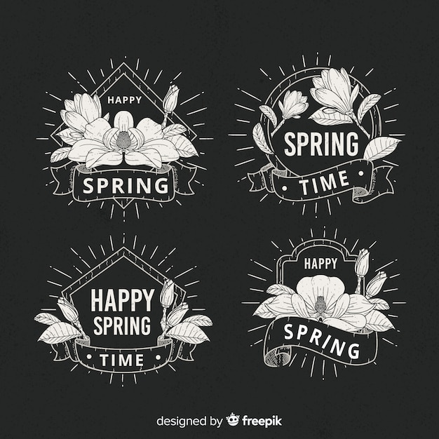 Kolekcja etykiet wiosna Darmowych Wektorów