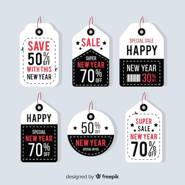 Kolekcja etykiety sprzedaży nowego roku Darmowych Wektorów