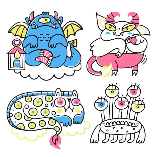 Kolekcja fantastycznych potworów Premium Wektorów