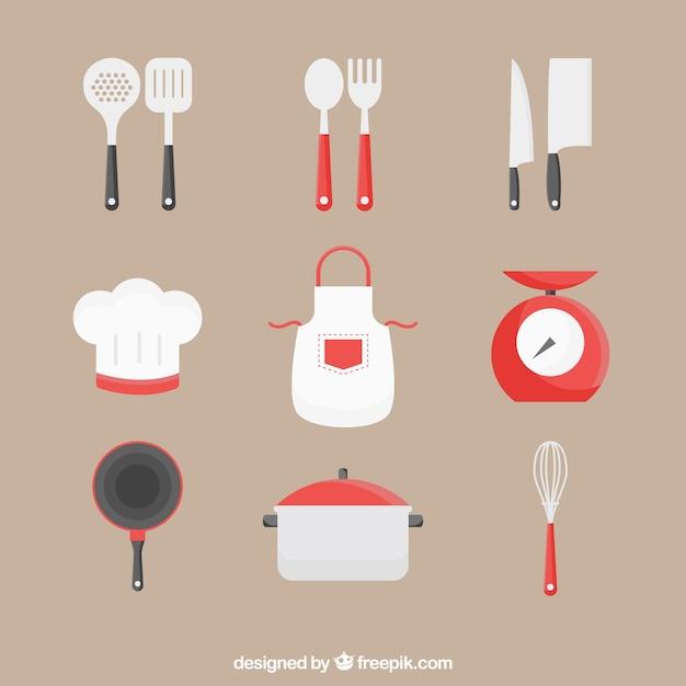Kolekcja fartuchów z innymi przyborami kuchennymi Darmowych Wektorów
