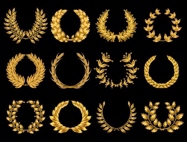 Kolekcja Floral Gold Wreathes Darmowych Wektorów