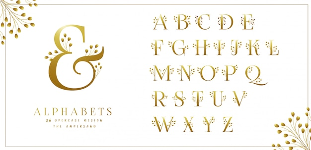 Kolekcja Golden Floral Alphabets Premium Wektorów