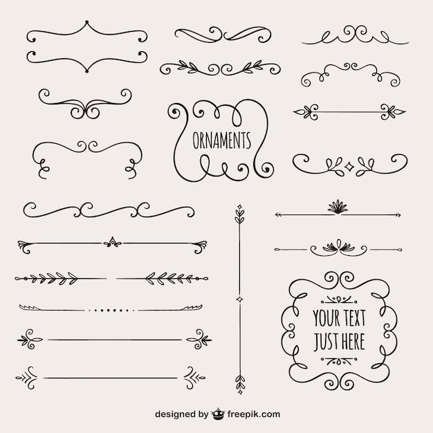 Kolekcja granice kaligraficzne Darmowych Wektorów