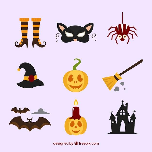 Kolekcja halloween element w płaskim stylu Darmowych Wektorów