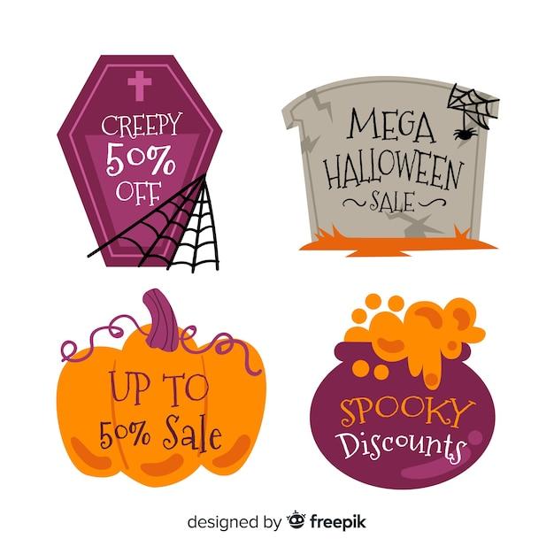 Kolekcja halloween sprzedaż etykiety w płaskiej konstrukcji Darmowych Wektorów