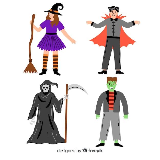 Kolekcja halloween upiorny charakter Darmowych Wektorów