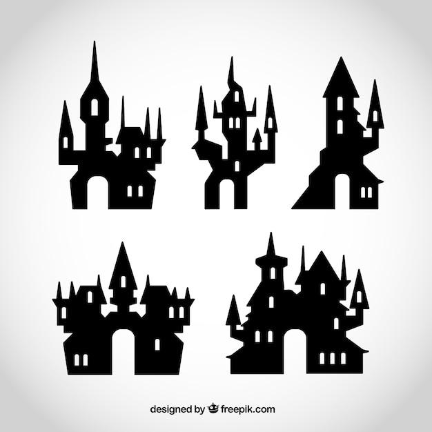 Kolekcja halloween zamków Darmowych Wektorów