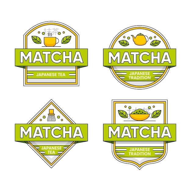 Kolekcja Herbacianych Odznak Matcha Darmowych Wektorów